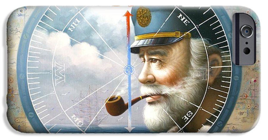Sea Captain IPhone 6 Case featuring the painting News Map Captain Or Sea Captain by Yoo Choong Yeul