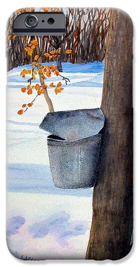 Sap Bucket. Maple Sugaring IPhone 6 Case featuring the painting Nh Goldmine by Sharon E Allen
