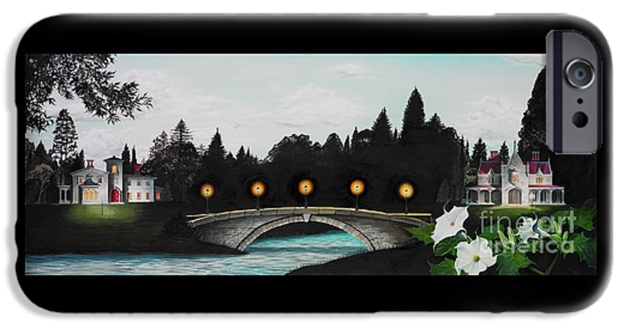 Architecture IPhone 6 Case featuring the painting Night Bridge by Melissa A Benson