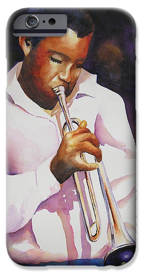 Trumpet IPhone 6 Case featuring the painting Night Music by Karen Stark