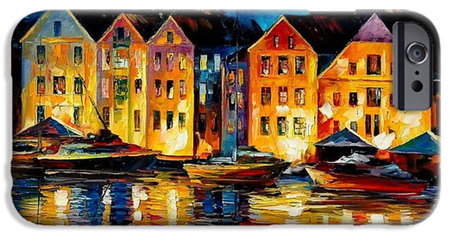 City IPhone 6 Case featuring the painting Night Resting Original Oil Painting by Leonid Afremov