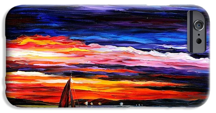Seascape IPhone 6 Case featuring the painting Night Sea by Leonid Afremov