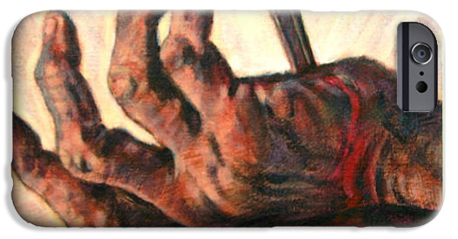 Christ IPhone 6 Case featuring the painting No Greater Love by John Lautermilch