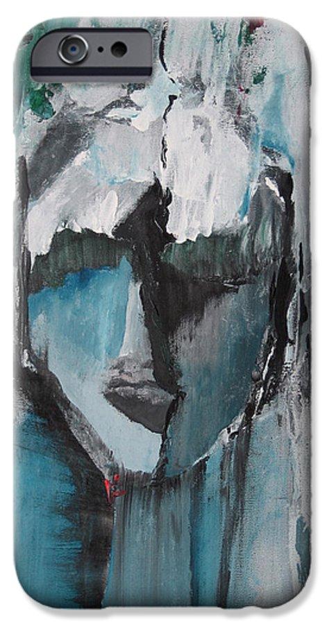 Abstract Acrylic Blue Darkestartist Nobody Portrait Darkest Artist Face IPhone 6 Case featuring the painting Nobody by Darkest Artist