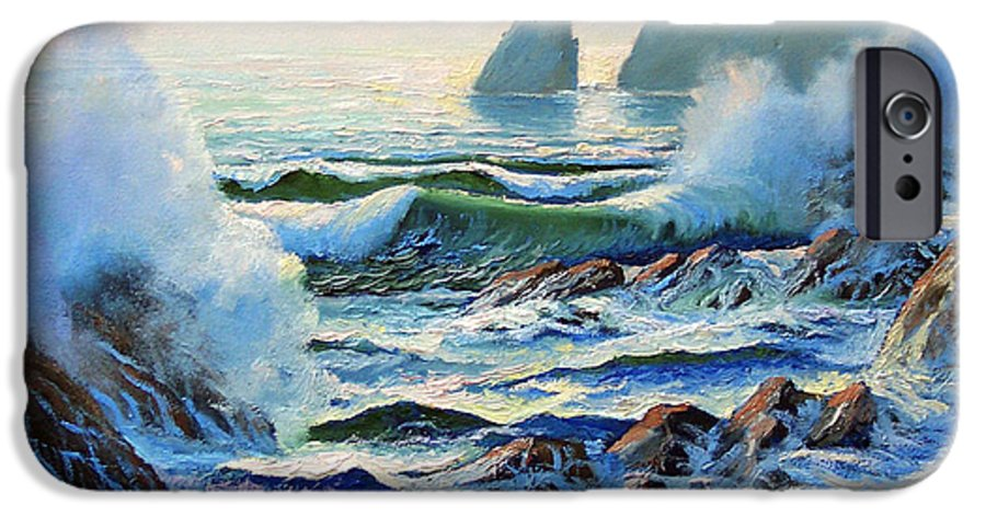 Seascape IPhone 6 Case featuring the painting North Coast Surf by Frank Wilson