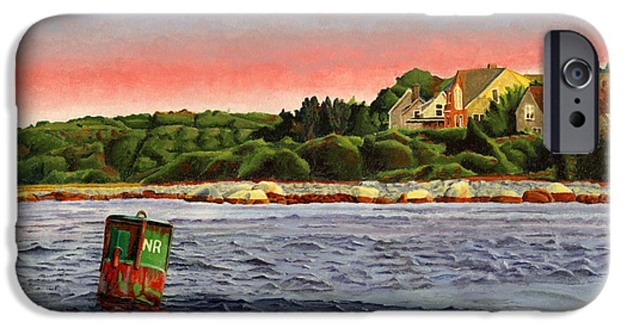 River IPhone 6 Case featuring the painting North River At Sunset by Dominic White