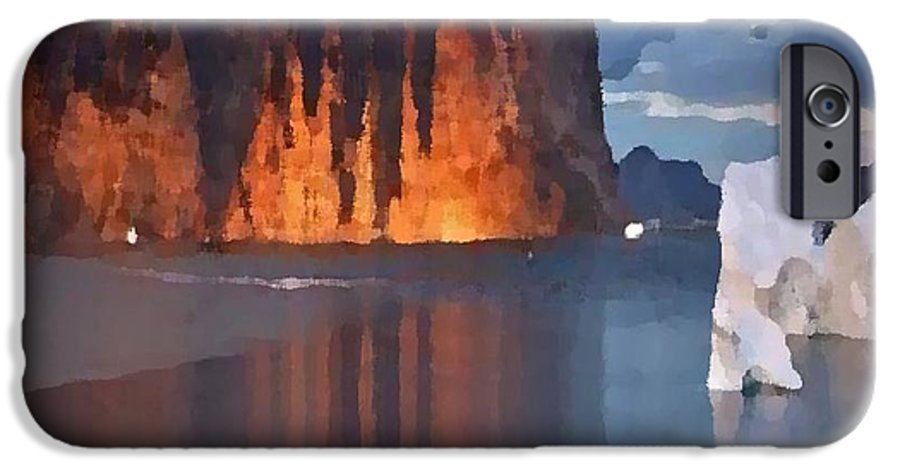 North.rock.iceberg.sea.sky.clouds.cold.landscape.nature.rest.silence IPhone 6 Case featuring the digital art North Silence by Dr Loifer Vladimir