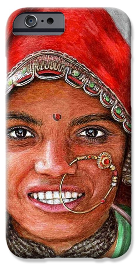 Woma IPhone 6 Case featuring the painting Northindian Woman by Nicole Zeug