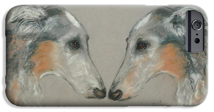 Dog IPhone 6 Case featuring the drawing Nose To Nose by Cori Solomon