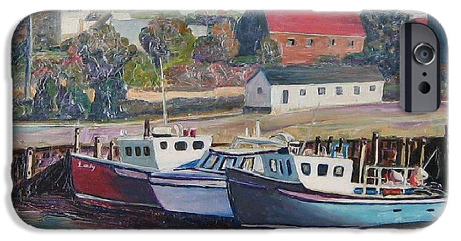 Nova Scotia IPhone 6 Case featuring the painting Nova Scotia Boats by Richard Nowak