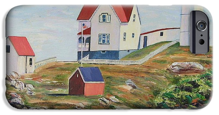 Nubble Light House IPhone 6 Case featuring the painting Nubble Light House Maine by Richard Nowak