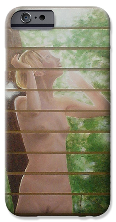 Realistic IPhone 6 Case featuring the painting Nude Forest by Angel Ortiz