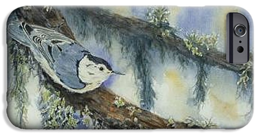 Nuthatch IPhone 6 Case featuring the painting Nuthatch by Dolores Fegan