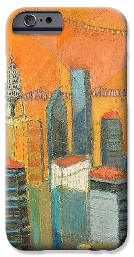 IPhone 6 Case featuring the painting Nyc In Orange by Habib Ayat
