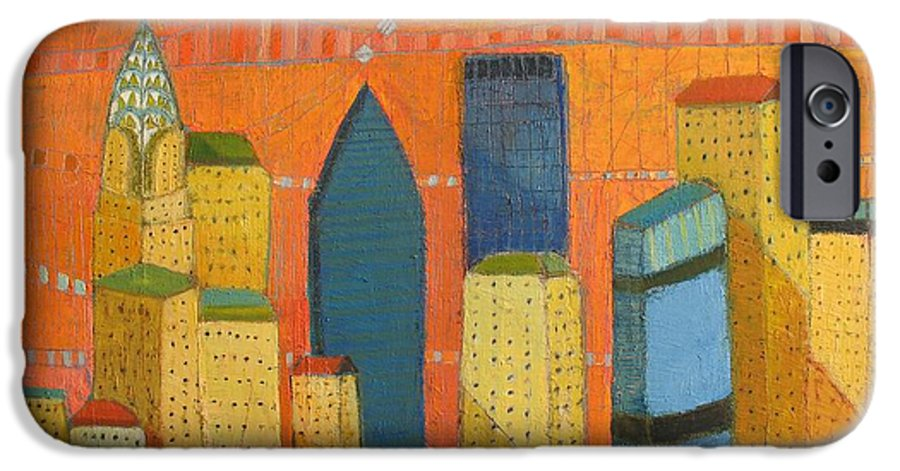 Abstract Cityscape IPhone 6 Case featuring the painting Nyc With Chrysler by Habib Ayat
