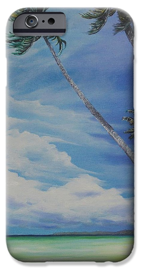 Trinidad And Tobago Seascape IPhone 6 Case featuring the painting Nylon Pool Tobago. by Karin Dawn Kelshall- Best