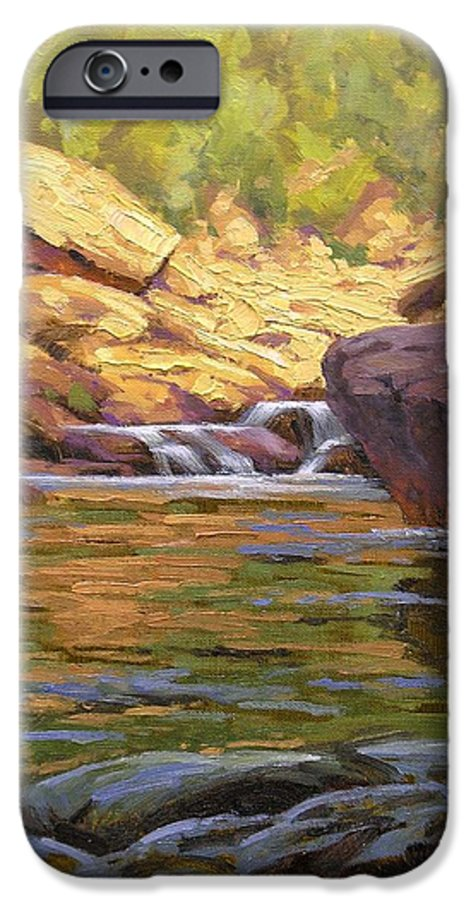 Water Scene IPhone 6 Case featuring the painting Oak Creek Tributary by Cody DeLong