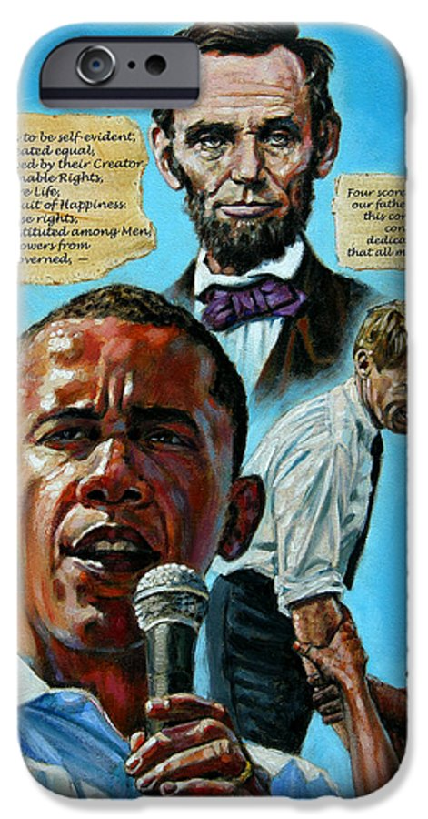 Obama IPhone 6 Case featuring the painting Obamas Heritage by John Lautermilch