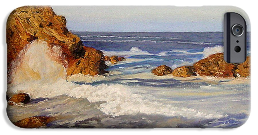 Seascape IPhone 6 Case featuring the painting Ocean Rock by Quwatha Valentine