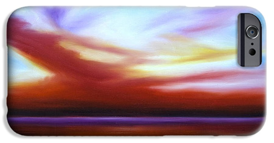 Skyscape IPhone 6 Case featuring the painting October Sky IIi by James Christopher Hill