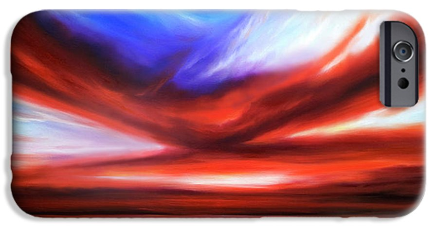 Sunrise; Sunset; Power; Glory; Cloudscape; Skyscape; Purple; Red; Blue; Stunning; Landscape; James C. Hill; James Christopher Hill; Jameshillgallery.com; Ocean; Lakes; Storm; Tornado; Lightning IPhone 6 Case featuring the painting October Sky V by James Christopher Hill