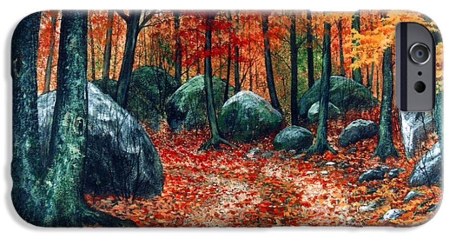 Landscape IPhone 6 Case featuring the painting October Woodland by Frank Wilson