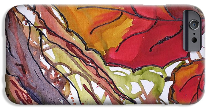 Leaf IPhone 6 Case featuring the mixed media Octobersecond by Susan Kubes