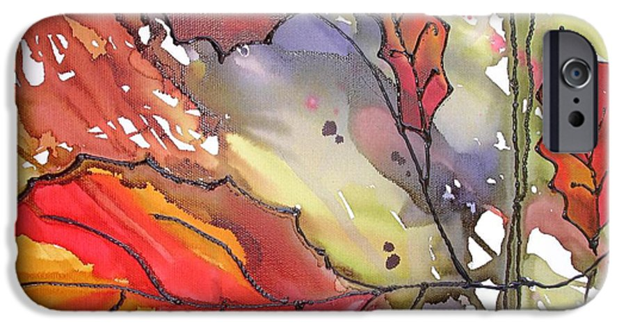 Leaf IPhone 6 Case featuring the mixed media Octoberthird by Susan Kubes