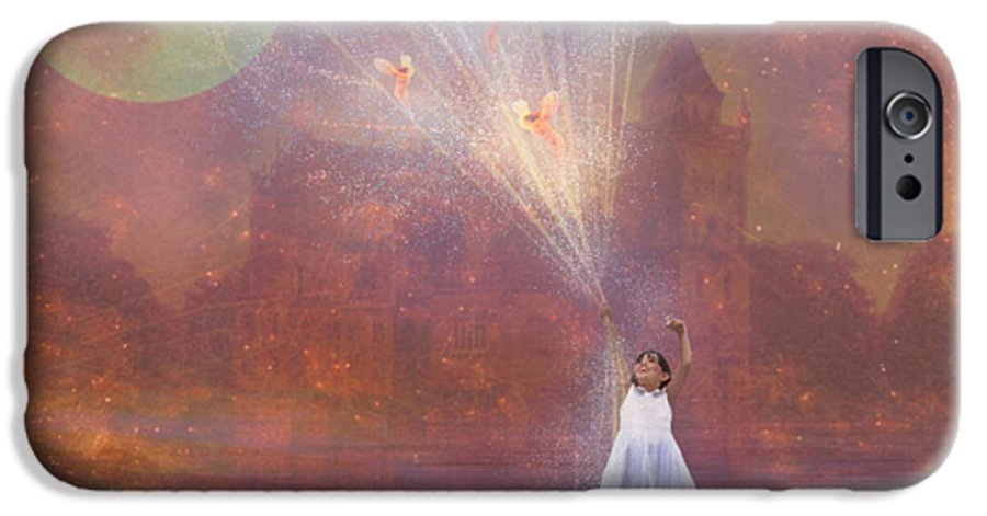 Fairyland IPhone 6 Case featuring the painting Off To Fairy Land - By Way Of Fairyloons by Carrie Jackson