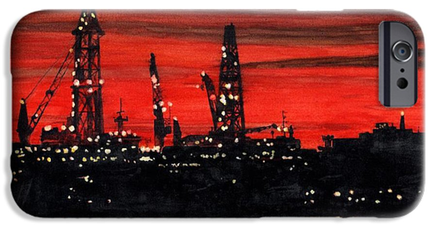 Cityscape IPhone 6 Case featuring the painting Oil Rigs Night Construction Portland Harbor by Dominic White