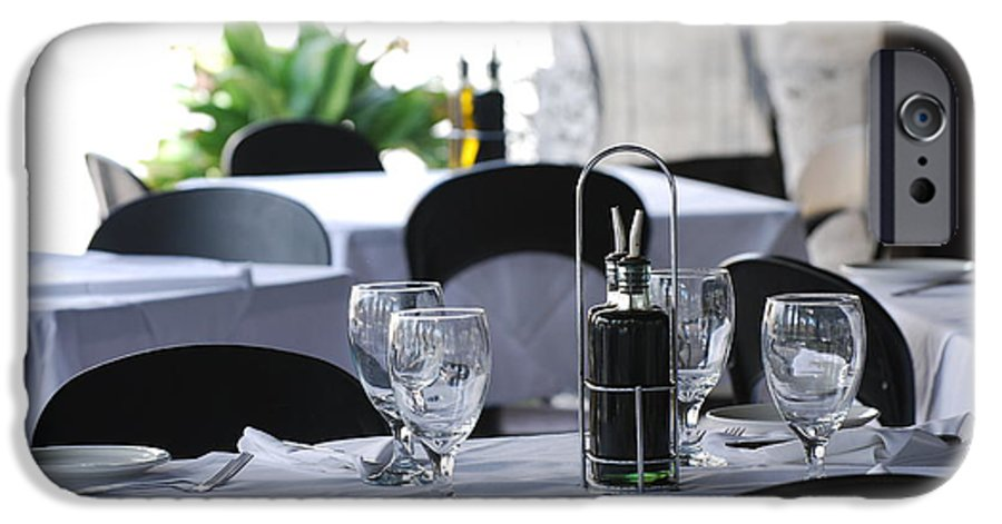 Tables IPhone 6 Case featuring the photograph Oils And Glass At Dinner by Rob Hans