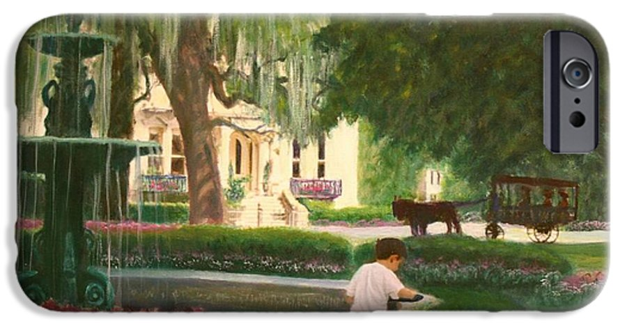 Savannah; Fountain; Child; House IPhone 6 Case featuring the painting Old And Young Of Savannah by Ben Kiger