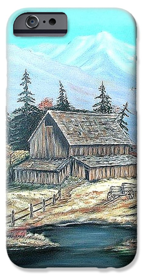 Landscape Pond Wagon Old Trees Mountain IPhone 6 Case featuring the painting Old Barn Above The Pond by Kenneth LePoidevin