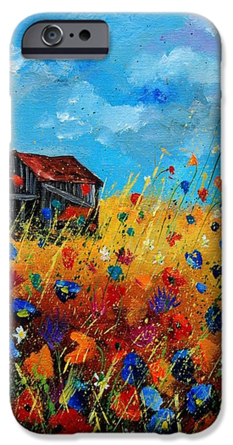 Poppies IPhone 6 Case featuring the painting Old Barn by Pol Ledent