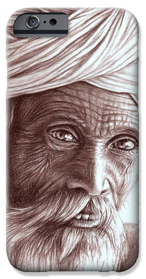 Man IPhone 6 Case featuring the drawing Old Indian Man by Nicole Zeug