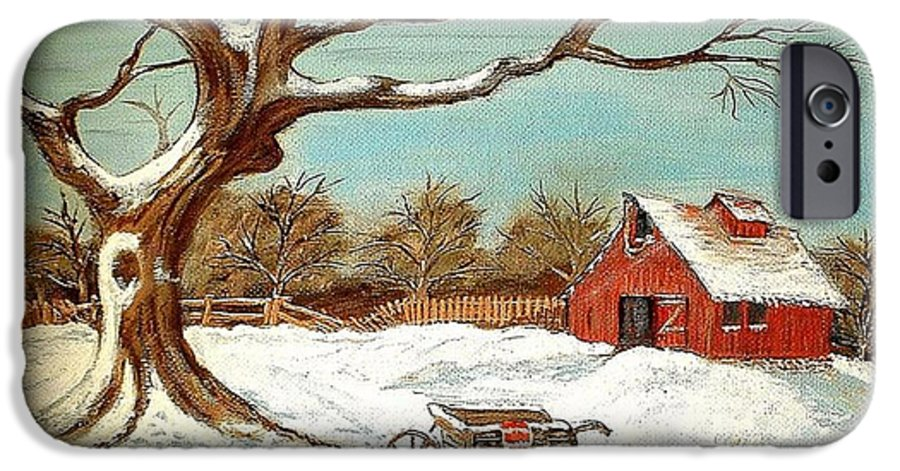 Old Tree Barn Wheelbarrow Snow Winter Painting IPhone 6 Case featuring the painting Old Tree And Barn by Kenneth LePoidevin