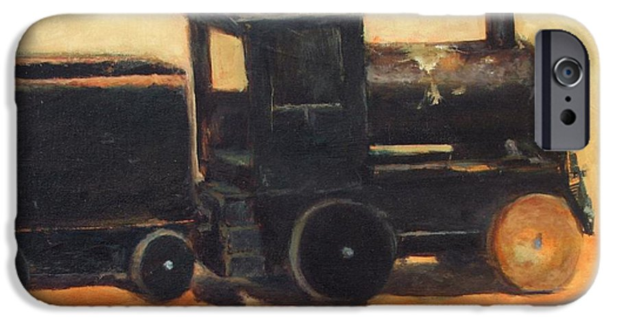Trains IPhone 6 Case featuring the painting Old Wood Toy Train by Chris Neil Smith