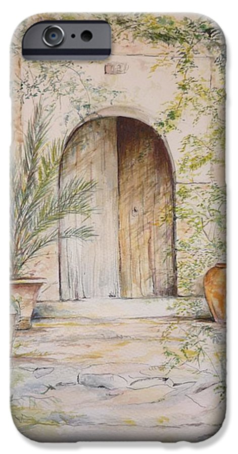 Door IPhone 6 Case featuring the painting Old Wooden Door by Lizzy Forrester