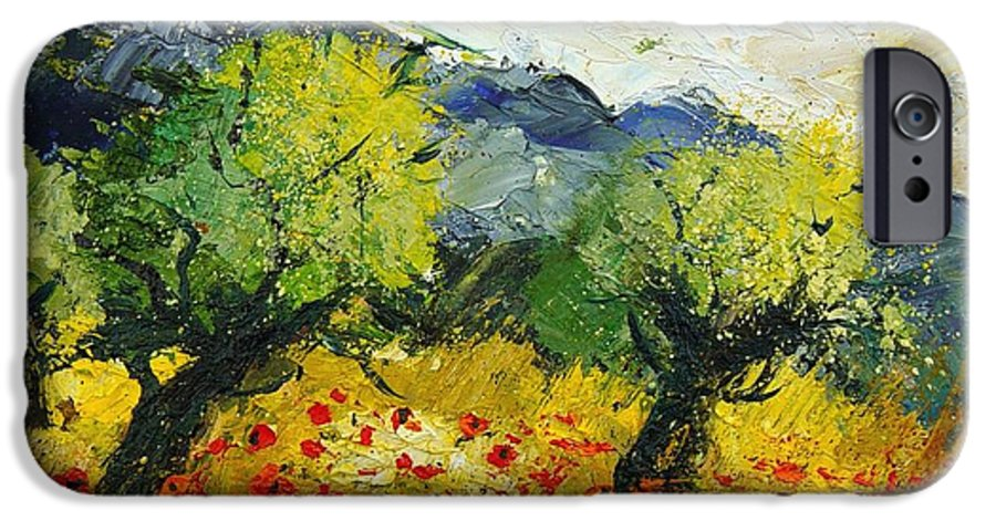 Flowers IPhone 6 Case featuring the painting Olive Trees And Poppies by Pol Ledent