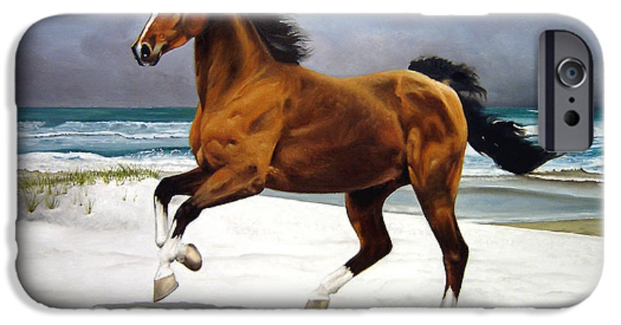 Horse IPhone 6 Case featuring the painting On The Beach by Marc Stewart