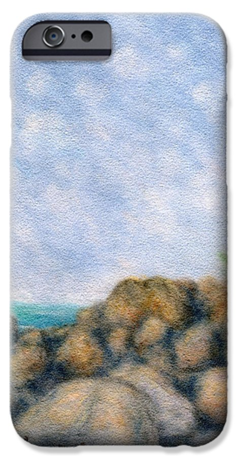 Rainbow Colors Pastel IPhone 6 Case featuring the painting On The Rocks by Kenneth Grzesik