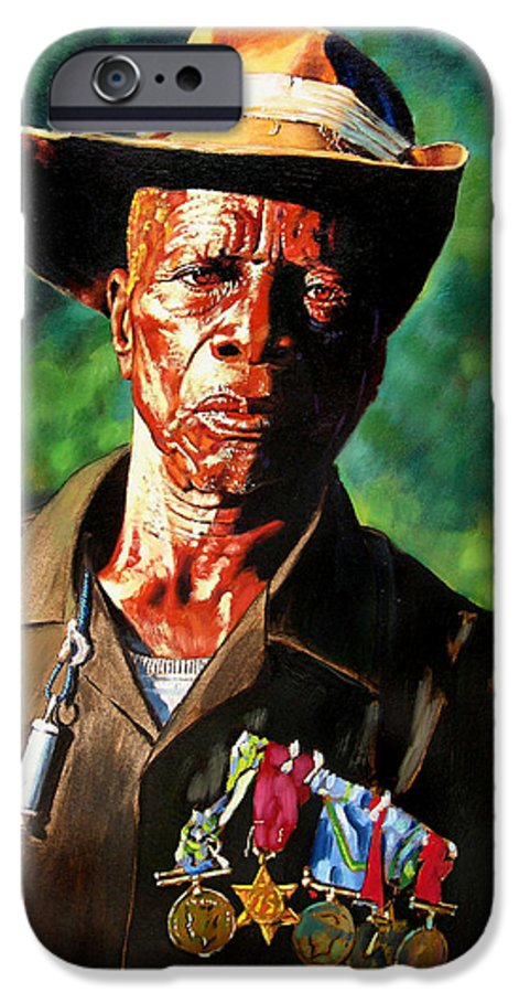 Black Soldier IPhone 6 Case featuring the painting One Armed Soldier by John Lautermilch