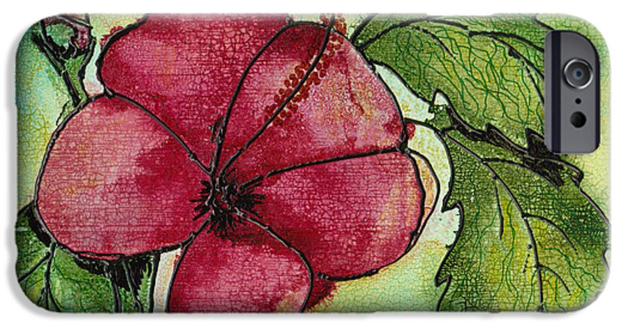Flower IPhone 6 Case featuring the painting One Pink Hibiscus by Susan Kubes