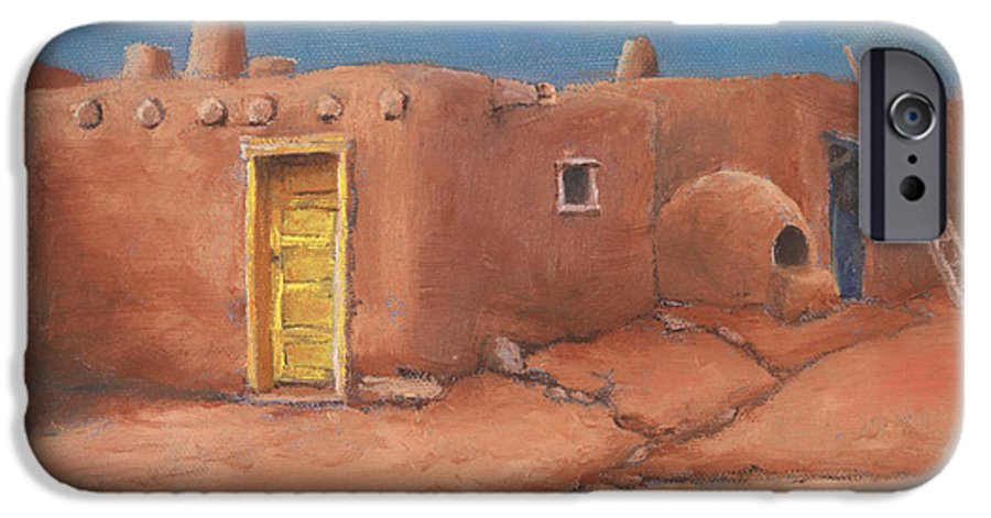 Taos IPhone 6 Case featuring the painting One Yellow Door by Jerry McElroy