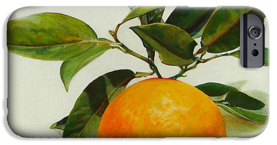 Floral Painting IPhone 6 Case featuring the painting Orange Cueillie by Muriel Dolemieux