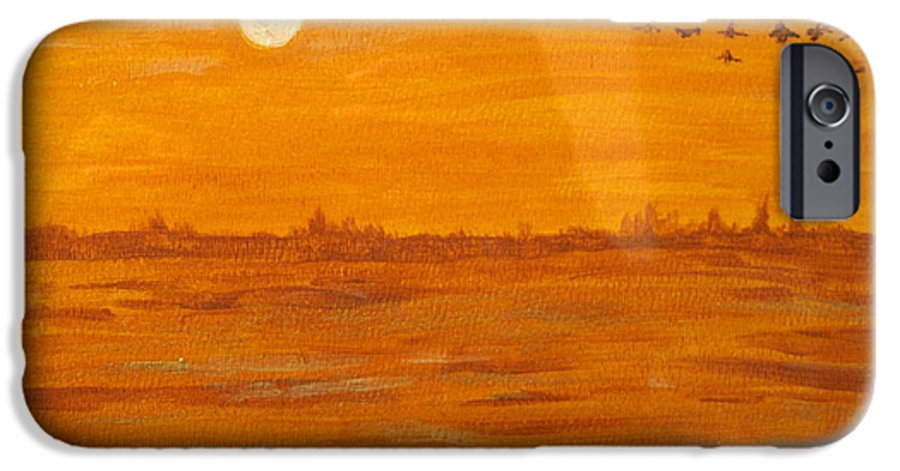 Orange IPhone 6 Case featuring the painting Orange Ocean by Ian MacDonald