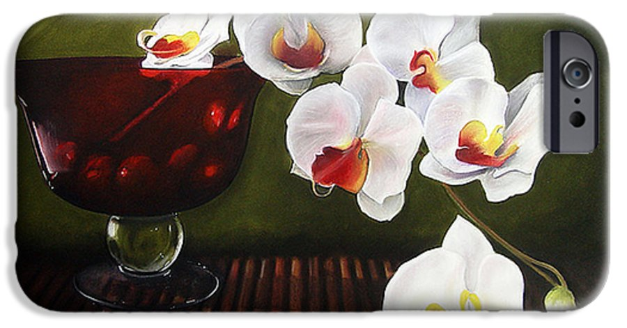 Floral IPhone 6 Case featuring the painting Orchid Cascade by Colleen Brown