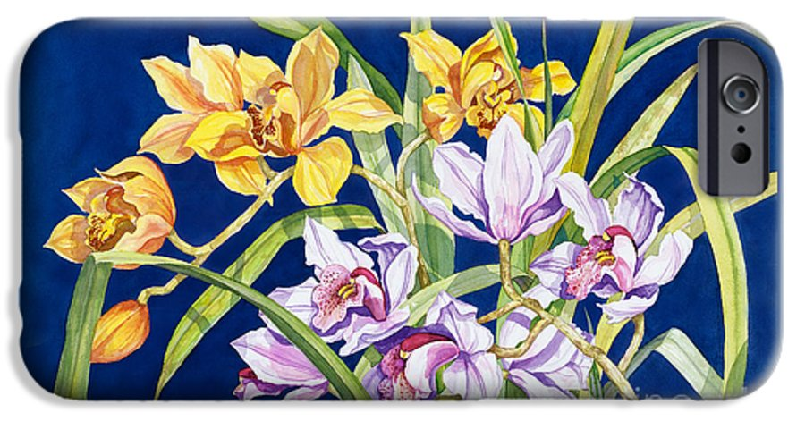 Orchids IPhone 6 Case featuring the painting Orchids In Blue by Lucy Arnold