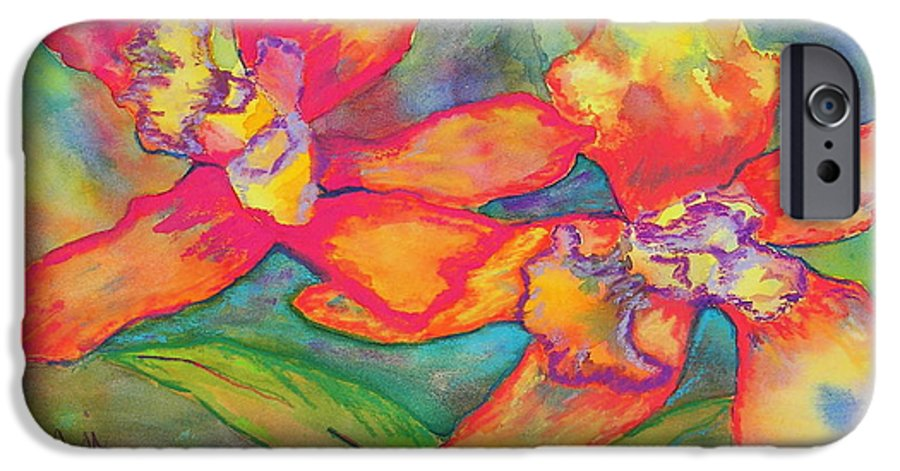 Flowers IPhone 6 Case featuring the painting Orchids In Paradise by Cori Solomon