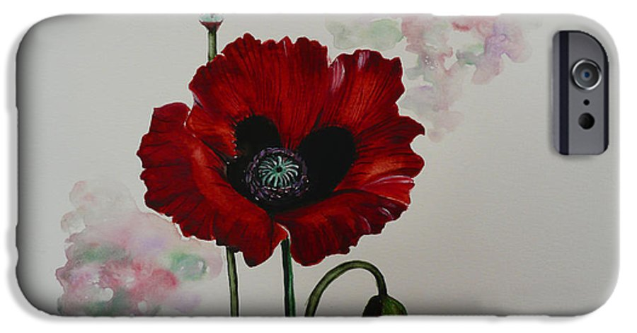 Floral Poppy Red Flower IPhone 6 Case featuring the painting Oriental Poppy by Karin Dawn Kelshall- Best